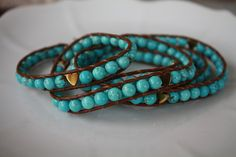 Semi Precious Natural Turquoise Beaded Leather Wrap Bracelet with Gold Heart Accent Beads on Etsy, $43.00
