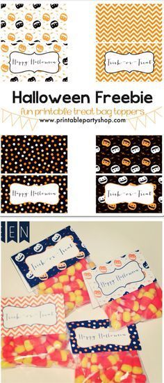 Easy DIY treat bag toppers for Halloween :) Print, cut and fold over clear filled treat bags Free printables-- www.printablepartyshop.com #halloween #pumpkin #trickortreat