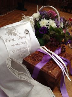 Ceremony ideas. A memory box to open 10th anniversary. Handfasting cloth and a lovely ring cushion