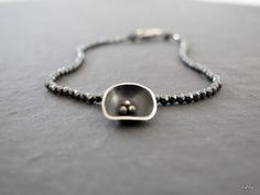 Black flower bracelet with faceted 2 mm hematite and by ZizouArT