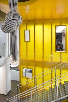 Kiewit Building Group Office Renovation #3form #lighting #yellow #interior