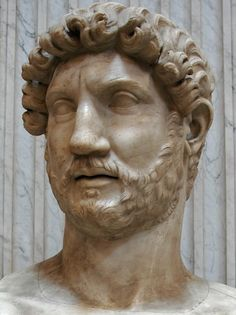 Emperor Hadrian, head of (colossal) Roman statue (marble), 2nd century AD, (Musei Vaticani, Vatican City).