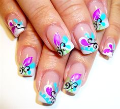 paisley floral french by Pilar from Nail Art Gallery