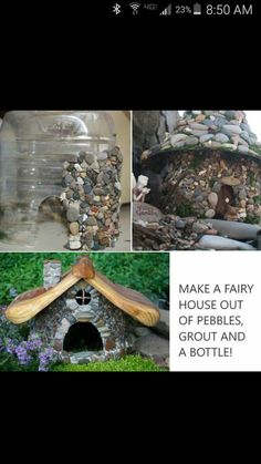 Fairy house out of pebbles, grout and a bottle