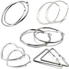 5-Pack: Sterling Silver Hoop Earrings - DailySale