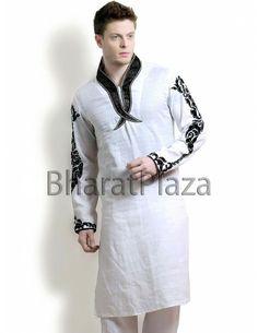 Ornate Off White Kurta Pyjama. Item code: KMD1-3