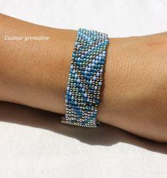 Bracelet tissé en perles de miyuki et perles de rocailles : Bracelet par couleur-grenadine33