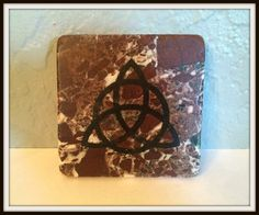 "Hand Stamped Triquetra Marble Altar Tile ~ 4"" x 4"" ~ Wicca ~ Witch ~ Pagan ~ Pentacle ~ Altar Decoration ~ Rituals ~ Magick ~ Candle Coaster by SummerlandBB on Etsy"