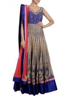 Beige and royal blue anarkali suit featuring with resham embroidery Indian Fashion Online, Ethnic Fashion, Asian Fashion, Elegant Outfit, Elegant Dresses, Pretty Dresses, Indian Attire, Indian Wear, Pakistani Dresses