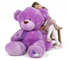 Sewsie Big Love Huge Huggable Lavender Teddy Bear 47 in Large Teddy Bear, Giant Teddy Bear, Big Bear, Teddy Bears, Valentines Day Teddy Bear, Giant Stuffed Animals, Teddy Bear Cartoon, Teddy Bear Gifts, Little Girl Toys