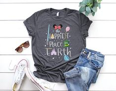 The Happiest Place on Earth Disney Mickey Unisex Men Womens T-Shirt - Disney The Happiest Place on Earth Disneyland Disney World Minnie Mouse Inspired Unisex T-Shirt - Mom Shirts, T Shirts For Women, Teacher Shirts, Nursing School Shirts, Teacher Outfits, Family Shirts, T Shirt Custom, Heather Grey, Grunge