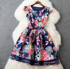 Slim round neck printed short-sleeved dress AX51701ax