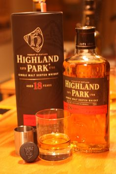 Highland Park 18 year old single malt scotch whiskey. This has to be one of the most consistently excellent malt whiskies of the past 10 years. Showered with awards and praise from all quarters. Unfailingly excellent, especially after a good meal. Happy Hour Drinks, Fun Drinks, Alcoholic Drinks, Cocktails, Whiskey Room, Whiskey Bottle, Scotch Whiskey, Bourbon Whiskey, Whiskey Lullaby