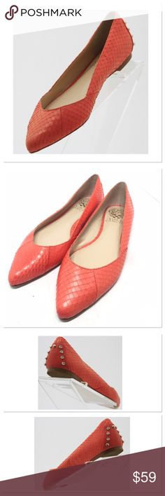 Vince Camuto Alley Orange/Snakeskin Flats Uppers: New Condition Outsole: New Condition Insole: New Condition Condition: New without box Material: Leather Size: 8 (38) Width: Medium (B, M) The shoes have label residue on the bottoms. Silver tone studs on heels. Snakeskin patterned leather. Vince Camuto Shoes Flats & Loafers