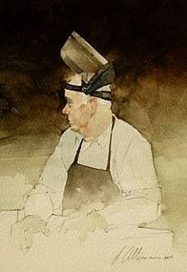 "2006, Stalwart by Joseph Alleman Watercolor ~ 10"" x 7"""
