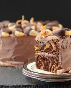 Vegan Orange and Chocolate Zebra Cake topped with a Whipped Ganache Frosting and Chocolate dipped tangerines. from #dietersdownfall.com