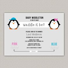 Waddle It Be Baby Shower Invitation, Guess the Gender Baby Shower, Baby Shower Invitation, Penguin Baby Shower, Custom Invitation, Digital Invitation, Enchanted Designs