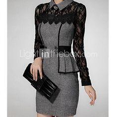 Women's Dress,Color Block Midi Long Sleeve Gray Fall / Winter 2016 - $6.99