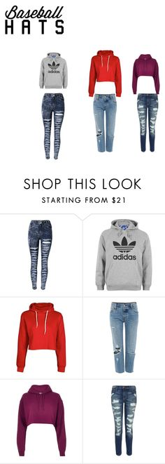 """""""basetball hats"""" by lesli-andrea on Polyvore featuring moda, adidas, Levi's, River Island y Current/Elliott"""