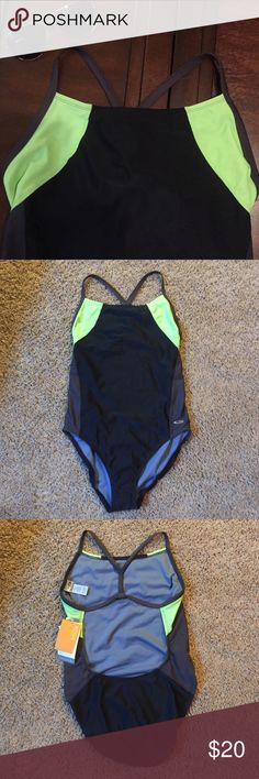 NEW Performance Swimsuit - Large 12/14 New with tags. Color blocked green/grey/black swimmer style suit from Champion. Size large 12/14. Champion Swim One Pieces