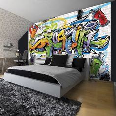 teenage boys room graffiti interiors pinterest. Black Bedroom Furniture Sets. Home Design Ideas