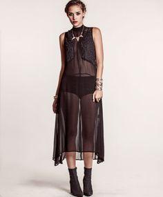 Shakuhachi Black Nouveau Sheer Midi Dress