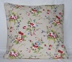 Floral Throw Pillow Cushion Cover  Shabby Chic  14ins Cath Kidston Summer Blossom Stone Front and Plain Beige Cotton Back. $22.00, via Etsy.