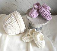 Ravelry: Bootees and Matching Hat pattern by OGE Knitwear Designs