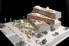 Downtown mixed-use development project. Oma Architecture, Concept Models Architecture, Office Building Architecture, Futuristic Architecture, Maquette Architecture, Mix Use Building, Building Design, Landscape Model, Mixed Use Development