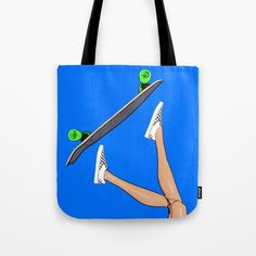 Tote Bag by plasticpam Skater Girls, Paper Bags, Poplin Fabric, Beach Towel, Cool Stuff, Stuff To Buy, Skateboard, Pop Art, Stress