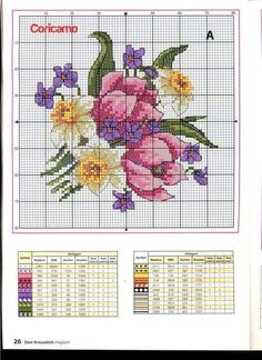 Cross stitch - flowers: Magnolia and fruit (chart - part Cross Stitch Boarders, Cross Stitch Pillow, Cross Stitch Cards, Cross Stitch Flowers, Cross Stitch Designs, Cross Stitching, Cross Stitch Embroidery, Cross Stitch Patterns, Christmas Embroidery Patterns