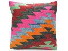 Neon Pink & Multi Colored Zig Zag Vintage Turkish Kilim Pillow
