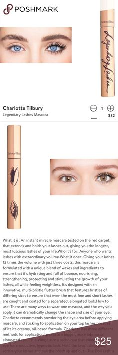 Charlotte Tilbury Legendary Lashes Mascara I'm in LOVE with Charlotte Tilbury products! Only used twice at most. Gives my lashes life and a good lift without getting too clumpy. Best applied in a wavy motion or blinking. Will ship in original box.   Note* Nordstrom return sticker was ripped off the box for security purposes. Charlotte Tilbury Makeup Mascara