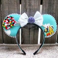Up Disney Pixar Inspired Mickey Ears w/ beads Disney Minnie Mouse Ears, Diy Disney Ears, Disney Up, Disney Bound, Disney Pixar, Disney Ideas, Mickey Ears Diy, Disney Cruise, Disney Ears Headband