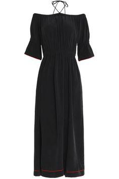 db02ede10caf Off-the-shoulder gathered printed silk maxi dress