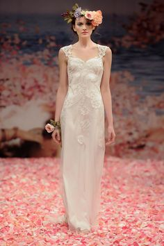 Bridal Gowns: Claire Pettibone Sheath Wedding Dress with Sweetheart Neckline and Empire Waist Waistline