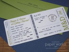 Wedding invitations printed like a boarding pass
