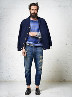 Chunky Blue Cotton Cardigan, Navy  White Striped Tee Shirt, Worn Jeans, and Lace Up Leather Shoes. Men's Fall Winter Style.
