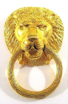 VINTAGE SIGNED KJL KENNETH JAY LANE LION DOOR KNOCKER HUGE RUNWAY BROOCH PENDANT #KennethJayLane