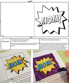 Mother's day pop art cards- easy for the teacher (no prep) and fun for kids! Kids color the design of their choosing from 12 designs. Coloring + writing = gift for mom that will POP!