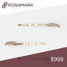 🌟COMING SOON🌟Gold 4 Piece Feather Hair Clips NWT.  4 piece set, antique gold, dainty embossed feather charms on bobby pins. Accessories Hair Accessories