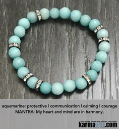Aquamarine is a stone of Courage and Protection. It is also used to align all of the chakras and enhance the aura..…     Aquamarine Yoga Chakra Reiki Beaded Stretch Bracelets & Jewelry .