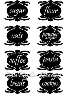 8 Custom Word Canister/Storage Container Labels by MaRyLoDesign, $15.00