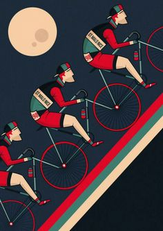 "neil-a-stevens: "" Night Climb By Neil Stevens "" Velo Retro, Velo Vintage, Vintage Bicycles, Bike Poster, Poster S, Bike Illustration, Graphic Design Illustration, Cycling Art, Cycling Bikes"