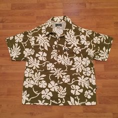 2b25bf39 Quiksilver Vintage 90s Hawaiian Floral Button Front Shirt Green Mens Small