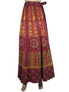 Indian Wrap Around Skirt Maroon Yellow Sun Moon Print Wrap Skirt for Women $26.95