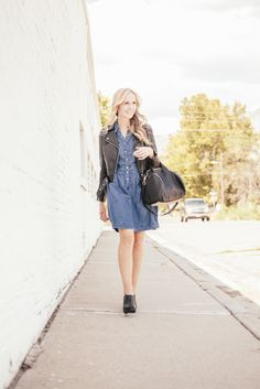 chambray dress and black leather jacket - might like to have a black leather jacket.