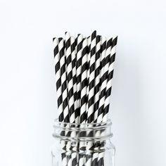 Black Striped Straws