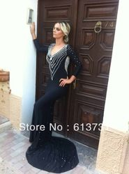 Online Shop 2014 Sexy New Fashion Pearls Black Chiffon Long Sleeves Backless Mermaid Long Prom Dresses Party Evening Elegant Sweep Train|Aliexpress Mobile