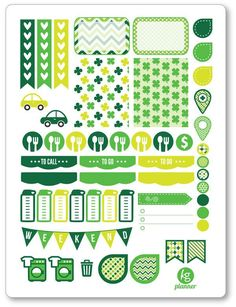 St. Patty's (Style 2) Weekly Spread Planner Stickers